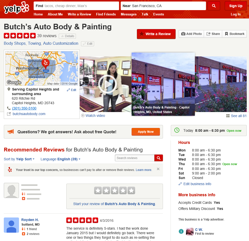 Sample Yelp Listing